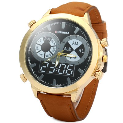 Shiweibao Nubuck Leather Band Male Quartz Watch with Decorative Sub - dials Big Dial