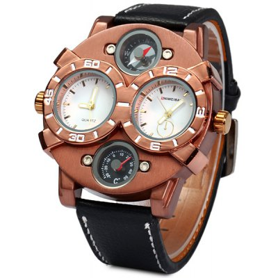 Shiweibao 1109 Bronzed Case Male Dual Movt Quartz Watch with Compass Function