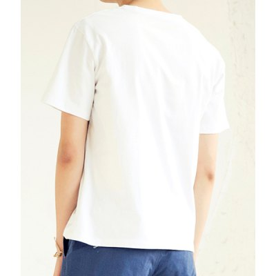 Гаджет   Simple Style Slimming Round Neck Letters and Floral Print Short Sleeves Men