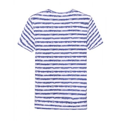 Гаджет   Casual Style Slimming Round Neck Stripes and Letters Print Short Sleeves Men