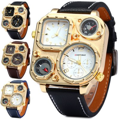 Гаджет   Shiweibao 1108 Cool Rectangle Dial Dual Movt Men Compass Quartz Watch with Decorative Thermometer Men