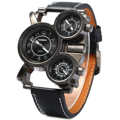 Shiweibao 1106 Cool Dial Three Movt Men Quartz Watch with Leather Band