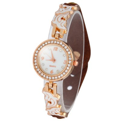 Гаджет   Female Dolphin Quartz Watch Leather + Steel Band Luxury Diamond Wristwatch