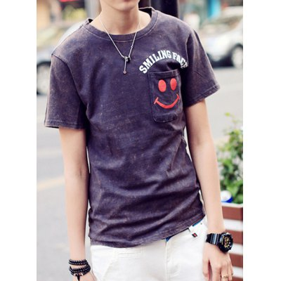 Гаджет   Trendy Slimming Round Neck Smiley Face Print Distressed Wash Short Sleeves Men