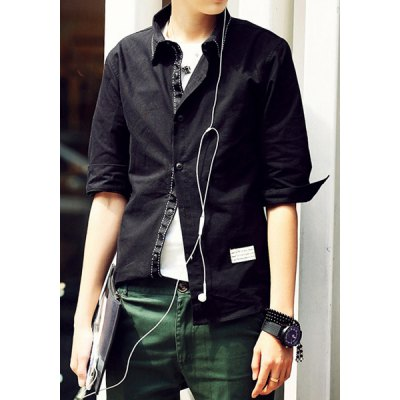 Гаджет   Refreshing Slimming Turn-down Collar Fashion Button Fly Solid Color 3/4 Sleeves Men
