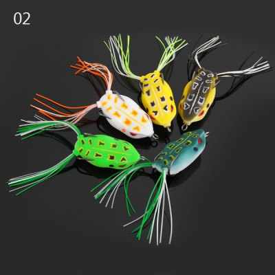 Yoshikawa 5pcs Soft Frog Shaped 10cm Fishing Bait with Hooks