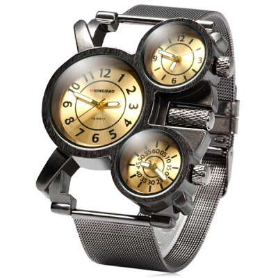 Shiweibao 1106 Three Times Male Quartz Watch with Steel Net Band