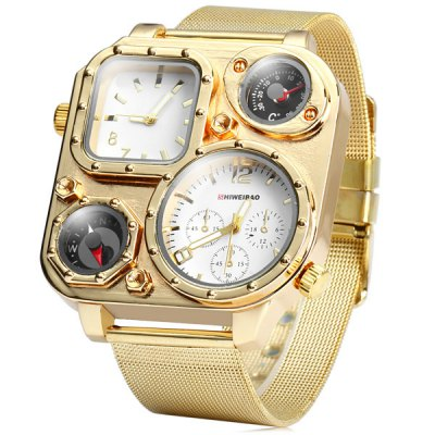 Shiweibao 1108 Dual Time Male Golden Quartz Watch with Compass Decorative Thermometer Steel Net BandMens Watches<br>Shiweibao 1108 Dual Time Male Golden Quartz Watch with Compass Decorative Thermometer Steel Net Band<br><br>Brand: Shiweibao<br>Watches categories: Male table<br>Watch style: Fashion<br>Available color: Brown, White, Black<br>Movement type: Double-movtz<br>Shape of the dial: Rectangle<br>Display type: Analog<br>Case material: Stainless steel<br>Band material: Steel<br>Clasp type: Pin buckle<br>Special features: Compass, Decorating small sub-dials, Decorating thermometer<br>The dial thickness: 1.2 cm / 0.47 inches<br>The dial diameter: 5.1 cm / 2.00 inches<br>The band width: 2.4 cm / 0.94 inches<br>Product weight: 0.110 kg<br>Package weight: 0.15 kg<br>Product size (L x W x H): 24.8 x 5.1 x 1.2 cm / 9.75 x 2.00 x 0.47 inches<br>Package size (L x W x H): 25.8 x 6.1 x 2.2 cm / 10.14 x 2.40 x 0.86 inches<br>Package Contents: 1 x Shiweibao 1108 Watch