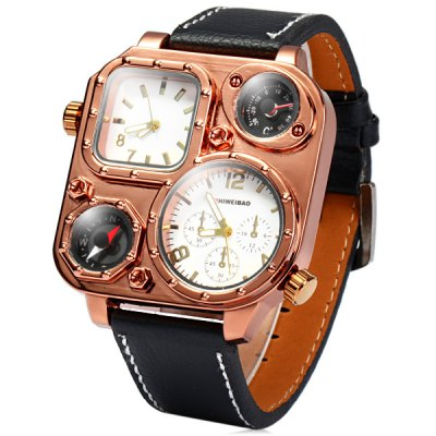 Гаджет   Shiweibao 1108 Leather Band Dual Movt Men Compass Quartz Watch with Decorative Thermometer Men
