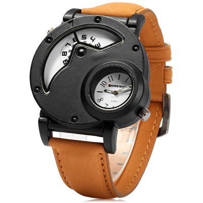 Shiweibao A3135 Leather Band Dual Movt Men Quartz Watch