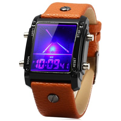 Гаджет   Dual Time Unisex Colorful LED Watch with Day Date Function Leather Band