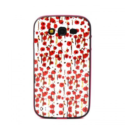 ФОТО Red Flowers Pattern TPU Phone Back Cover Case of Detachable Design for Samsung Galaxy Grand Neo I9060