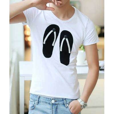 Гаджет   Simple Style Slimming V-Neck Flip-Flops Print Solid Color Short Sleeves Men