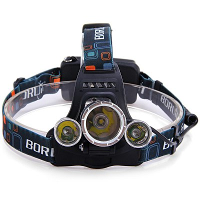 Boruit Cree XML T6 + R5 3 LEDs Rechargeable Headlight ( 3200Lm 4 Modes 2 x 18650 Battery )Headlights<br>Boruit Cree XML T6 + R5 3 LEDs Rechargeable Headlight ( 3200Lm 4 Modes 2 x 18650 Battery )<br><br>Headlight brand: Boruit<br>Function: Camping,EDC,Hiking,Household Use,Night Riding,Walking<br>Feature: Aluminum Alloy Bezel,Angle adjustment,Can be used as headlamp or bicycle light<br>Luminous Flux: 3200Lm<br>Main Lamp Beads: Other<br>Beads Number: 1 x Cree XM-L T6; 2 x Cree R5<br>Mode: 4(Low - Mid - High - Strobe)<br>Battery Type: 18650<br>Power Source: AC 100-240V Wall Charger,Battery<br>Reflector: Aluminum Smooth Reflector<br>Lens: Glass Lens<br>Rechargeable: Yes<br>Available Light Color: Cool White<br>Color: Black<br>Body Material: Aluminium Alloy<br>Product weight: 0.188 kg<br>Package weight: 0.270 kg<br>Product size (L x W x H): 12.00 x 11.00 x 10.00 cm / 4.72 x 4.33 x 3.94 inches<br>Package size (L x W x H): 13.00 x 12.00 x 12.00 cm / 5.12 x 4.72 x 4.72 inches<br>Package Contents: 1 x Boruit Headlight