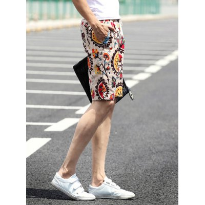 ФОТО Slimming Stylish Lace-Up Compass Print Narrow Feet Linen Blend Shorts For Men