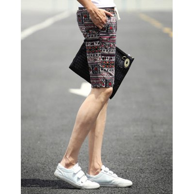 ФОТО Slimming Stylish Lace-Up Ethnic Floral Print Narrow Feet Linen Blend Shorts For Men