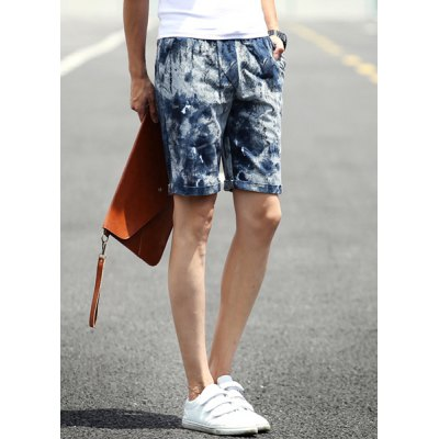 ФОТО Slimming Stylish Lace-Up Splash-Ink Lines Print Narrow Feet Linen Blend Shorts For Men
