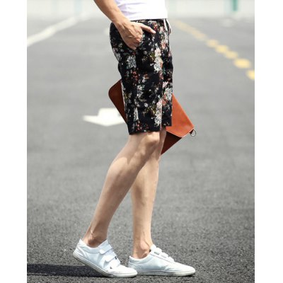 ФОТО Slimming Stylish Lace-Up Tiny Floral Print Narrow Feet Linen Blend Shorts For Men