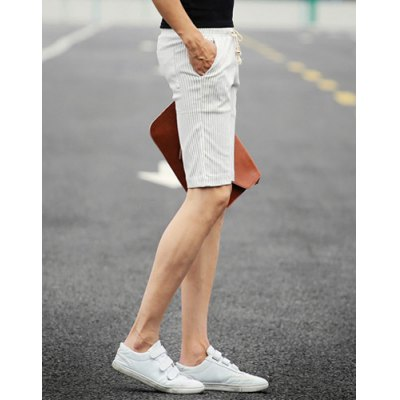 ФОТО Slimming Stylish Lace-Up Vertical Stripe Narrow Feet Cotton Blend Shorts For Men