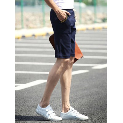 ФОТО Slimming Stylish Lace-Up Ethnic Embroidered Narrow Feet Cotton Blend Shorts For Men