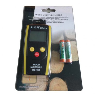 XINTEST HT - 610 Portable 2 Pins Digital Wood Moisture Meter Tester LCD DisplayLaser Rangefinder, Electronic Distance Meter<br>XINTEST HT - 610 Portable 2 Pins Digital Wood Moisture Meter Tester LCD Display<br><br>Brand: XINTEST<br>Model: HT-610<br>Material: Electronic Components, Plastic<br>Type: Measuring instruments<br>Temperature and humidity instrument: Other<br>Professional instruments: Other instruments<br>Primary functions: Wood moisture meter is used for measuring wood or building materials moisture content.<br>Features: Fast measurement, measurement readings per second, easy to use<br>Scope of application: Industrial, Agricultural<br>Product Weight: 0.064 kg<br>Package Weight: 0.240 kg<br>Product Size: 10.9 x 5.0 x 2.0 cm / 4.28 x 1.97 x 0.79 inches<br>Package Size: 18.0 x 11.0 x 3.0 cm / 7.07 x 4.32 x 1.18 inches<br>Package Contents: 1 x Wood Moisture Meter Tester, 1 x Color Card, 2  x 1.5V 7 Carbon Battery, 1 x Anti-drop Rope, 1 x English User Manual