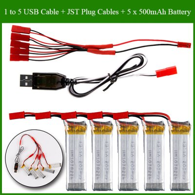 1 to 5 JST Plug Cable + 3.7V 500mAh 25C Battery + USB Cables + Cables