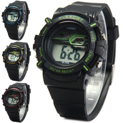 Lasika F80 Water Resistant Sports Wristwatch LED Digital WatchSports Watches<br>Lasika F80 Water Resistant Sports Wristwatch LED Digital Watch<br><br>Brand: Lasika<br>People: Unisex table<br>Watch style: Outdoor Sports, LED, Fashion&amp;Casual<br>Available color: Yellow, Red, Blue, Green<br>Shape of the dial: Round<br>Movement type: Digital watch<br>Display type: Digital<br>Case material: PC<br>Band material: Rubber<br>Clasp type: Pin buckle<br>Special features: Day, Date, Alarm clock, Light<br>Water Resistance: 30 meters<br>The dial thickness: 1.5 cm / 0.59 inches<br>The dial diameter: 4.3 cm / 1.69 inches<br>The band width: 1.8 cm / 0.71 inches<br>Product weight: 0.037 kg<br>Package weight: 0.087 kg<br>Product size (L x W x H) : 26 x 4.3 x 1.5 cm / 10.22 x 1.69 x 0.59 inches<br>Package size (L x W x H): 27 x 5.3 x 2.5 cm / 10.61 x 2.08 x 0.98 inches<br>Package contents: 1 x Lasika F80 Watch
