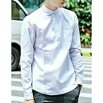 ФОТО Fashion Stand Collar Fitted Solid Color Pocket Design Long Sleeve Cotton Blend Shirt For Men