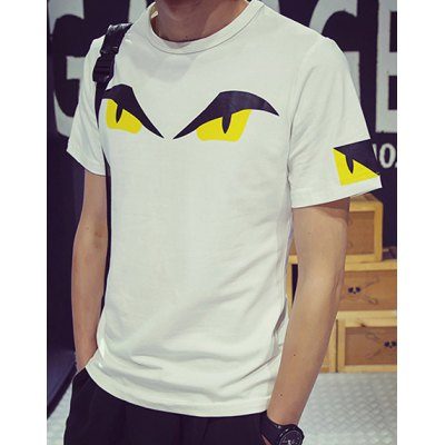 Гаджет   Fashion Slimming Round Neck Cartoon Print Solid Color Short Sleeves Men