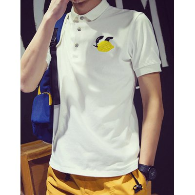 Гаджет   Laconic Slimming Turn-down Collar Embroidery Solid Color Short Sleeves Men