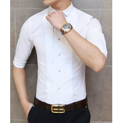 Гаджет   Slimming Turn-down Collar Half Sleeves Novel Button Fly Solid Color Men