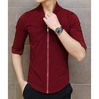 Гаджет   Novel Slimming Stand Collar Half Sleeves Zipper Fly Solid Color Men