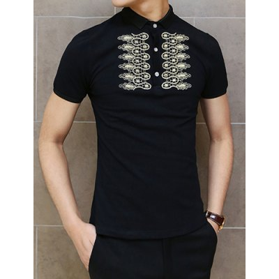 Гаджет   Laconic Slimming Turn-down Collar Short Sleeves Ethnic Print Solid Color Men