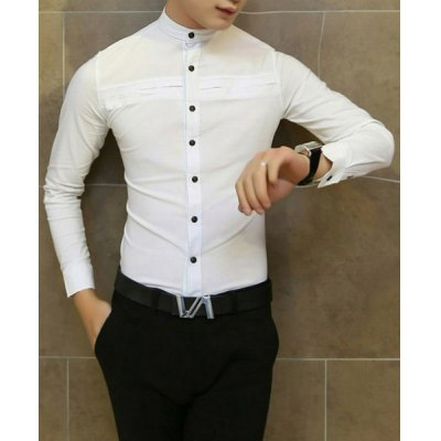 Гаджет   Casual Slimming Stand Collar Long Sleeves Button Embellished Solid Color Men