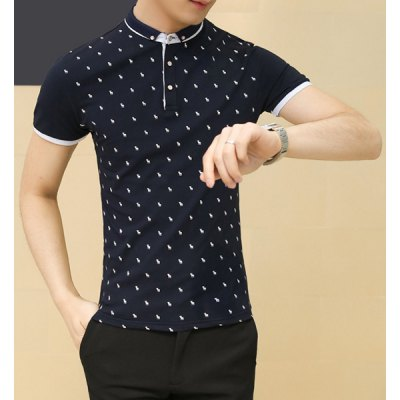 Гаджет   Fashion Fitted Turn-down Collar Animal Print Color Splicing Short Sleeves Men