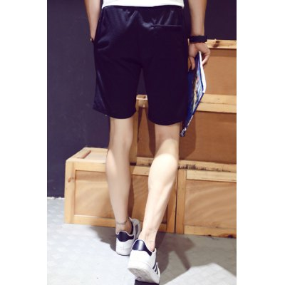 Гаджет   Loose Fit Stylish Lace-Up Letter Stripe Print Straight Leg Polyester Shorts For Men