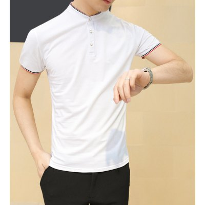 Гаджет   Refreshing Fitted Stand Collar Short Sleeves Stripes Splicing Men