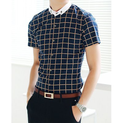 Гаджет   Classic Checked Print Color Block Slimming Turn-down Collar Short Sleeves Men
