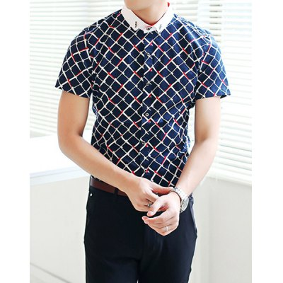 Гаджет   Refreshing Fitted Turn-down Collar Short Sleeves Argyle Print Color Block Men