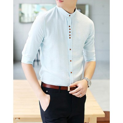 Гаджет   Personality Button Fly Solid Color Fitted Stand Collar Half Sleeves Men