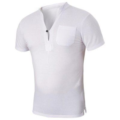 Гаджет   Fashion Fitted Button Design Stand Collar Short Sleeves One Pocket Solid Color Men