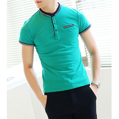 Гаджет   Stylish Fitted Turn-down Collar Short Sleeves Stripes Splicing Men