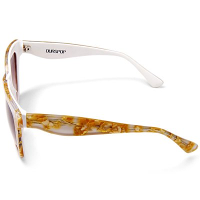 Ourspop OP  -  GA812 Outdoor Sports Tawny Polarized Lens Yellow in White Frame Sun Glasses for Women