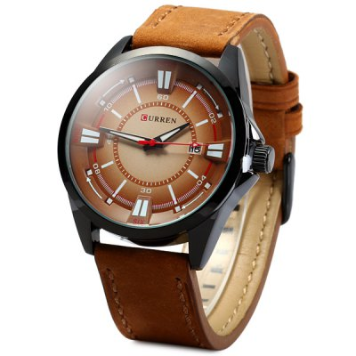 Curren 8155 Date Display Male Quartz Watch with Nubuck Leather Band