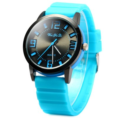 ФОТО Weiyaqi 891 Bright Colors Unisex Quartz Watch Round Dail Rubber Strap