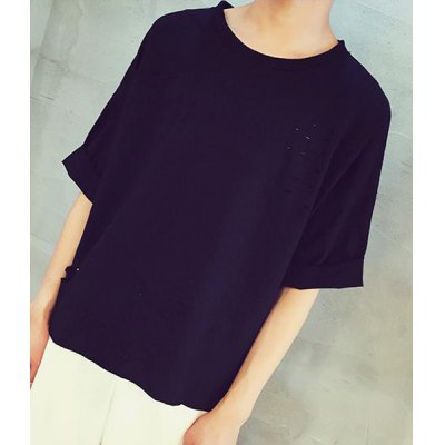 Гаджет   Western Style Round Neck Loose Fit Hole Design Solid Color Half Sleeves Men