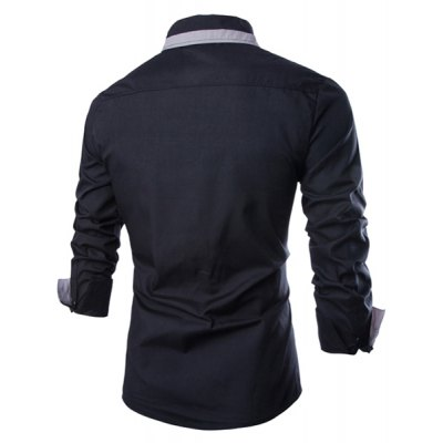ФОТО Fashion Shirt Collar Slimming Color Block Fake Tie Design Long Sleeve Polyester Shirt For Men