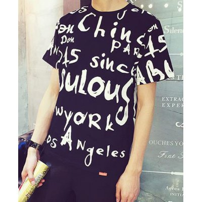 Гаджет   Loose-Fitting Fashion Round Neck Short Sleeves Letters Print Men