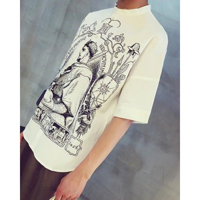 Гаджет   Chinese Style Fitted Stand Collar Personality Figure Print Short Sleeves Men