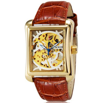 Sewor Hollow-out Mechanical Watch Male Hand Winding Leather Band Wristwatch